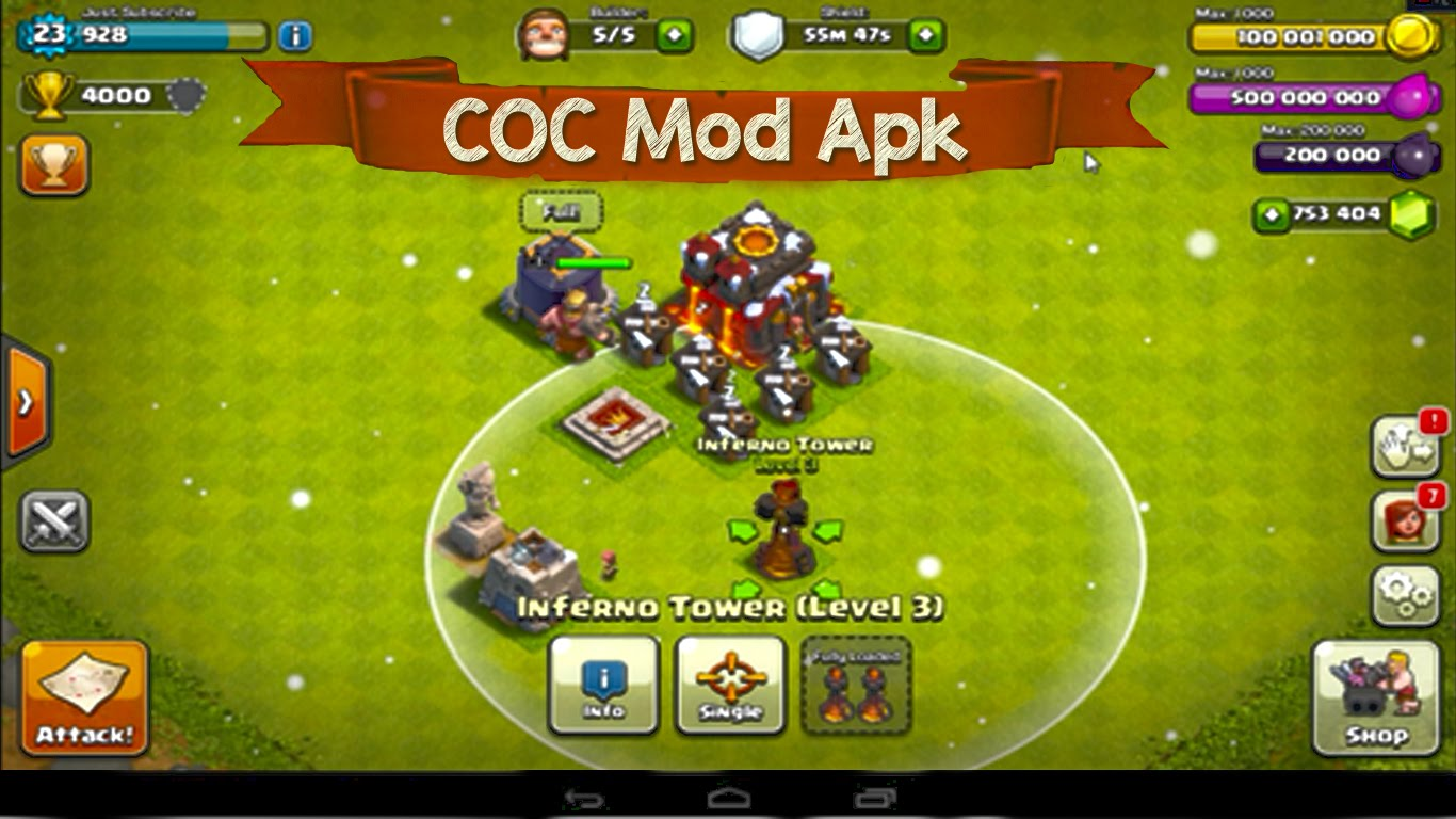 Clash of clans v10. 134. 11 mod apk unlimited gems troops coins [hack].